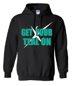 T Shirt - Hoodie Teal On
